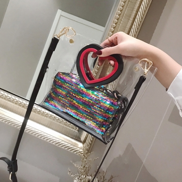Lovely Sweet See-through Multicolor Crossbody Bag