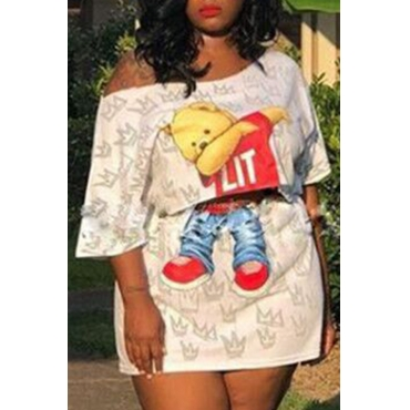 Lovely Casual Cartoon Print Whtie Plus Size Two-piece Skirt Set