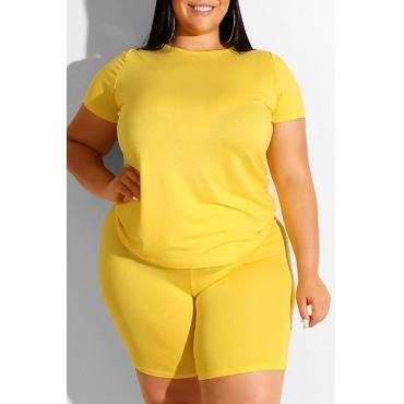 Lovely Leisure Basic Yellow Plus Size Two-piece Shorts Set