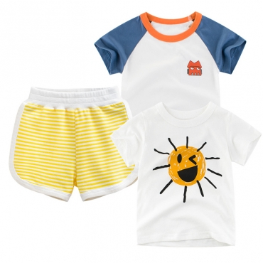 Lovely Casual Striped Print Yellow Boy Two-piece Shorts Set