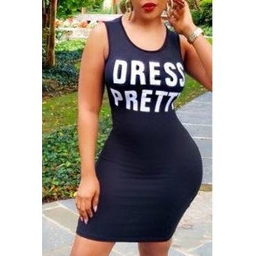 Lovely Casual Letter Black Knee Length Dress