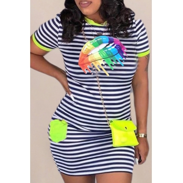 Lovely Casual O Neck Striped Print Green Mini T-shirt Dress