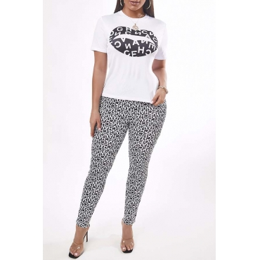 Lovely Casual Letter Print Black Two-piece Pants Set