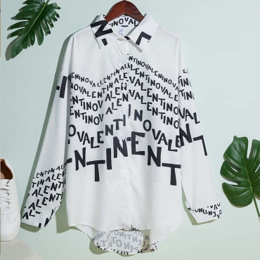 Lovely Trendy Letter Print White Shirt