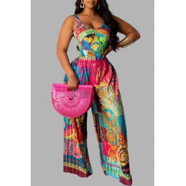 Lovely Trendy Print Multicolor Plus Size One-piece Jumpsuit