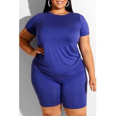 Lovely Leisure Basic Blue Plus Size Two-piece Shorts Set