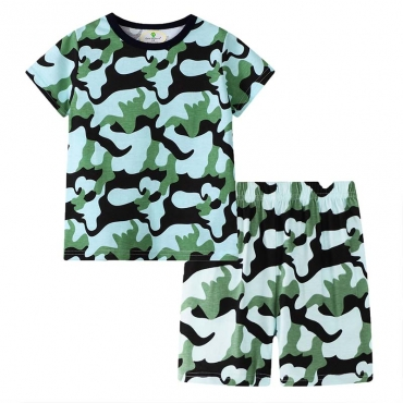 Lovely Casual Camo Print Army Green Boy Two-piece Shorts Set