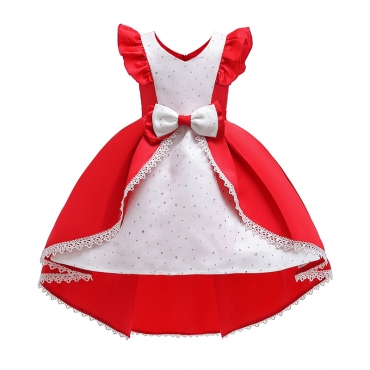 Lovely Sweet Patchwork Red Girl Knee Length Dress