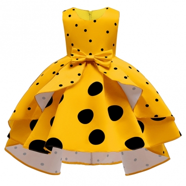 Lovely Sweet Dot Print Yellow Girl Knee Length Dress
