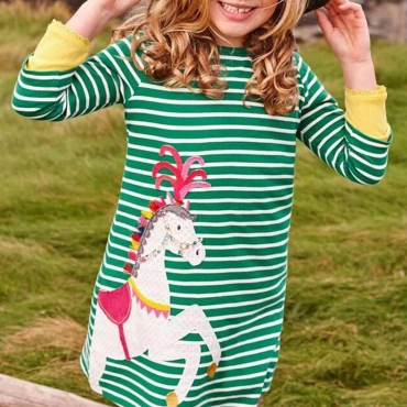 Lovely Sweet Striped Green Girl Knee Length Dress