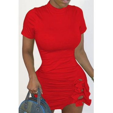 Lovely Casual O Neck Fold Design Red Mini Dress