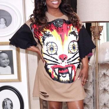 Lovely Casual O Neck Print Khaki Mini T-shirt Dress