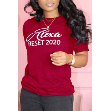 Lovely Casual O Neck Letter Red T-shirt