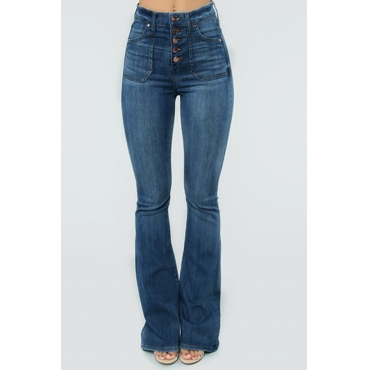 Lovely Casual Buttons Design Deep Blue Plus Size Jeans