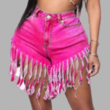 Lovely Trendy Tassel Design Rose Red Plus Size Shorts