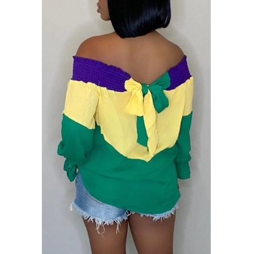 Lovely Trendy Patchwork Multicolor Blouse