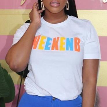 Lovely Casual O Neck Letter White T-shirt