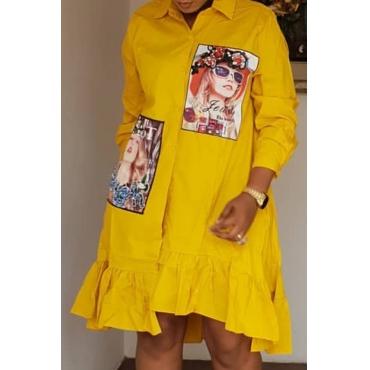 Lovely Trendy Print Yellow Knee Length Dress