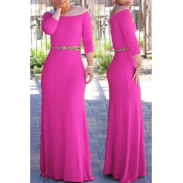 Lovely Bohemian Dew Shoulder Rose Red Maxi Dress