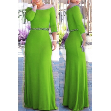 Lovely Bohemian Dew Shoulder Green Maxi Dress
