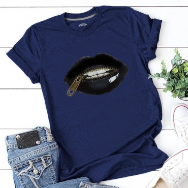 Lovely Casual Lip Print Navy Blue Plus Size T-shirt