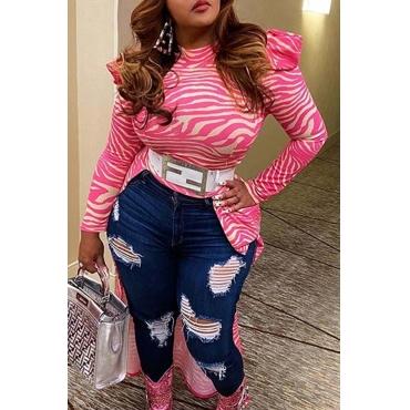 Lovely Stylish Print Pink Plus Size Blouse