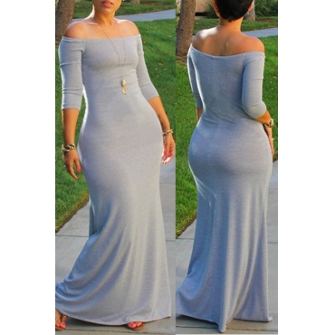 Lovely Bohemian Dew Shoulder Light Grey Maxi Plus Size Dress
