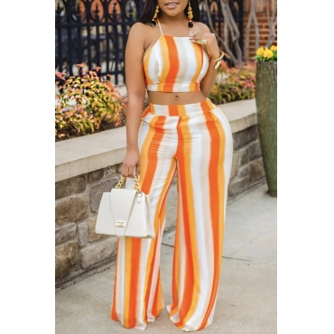 Lovely Casual Striped Orange Plus Size Two-piece Shorts Set