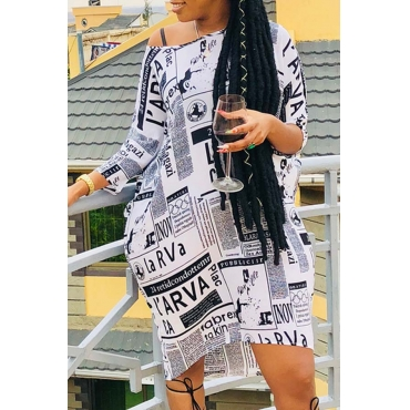 Lovely Casual Print White Knee Length Plus Size Dress