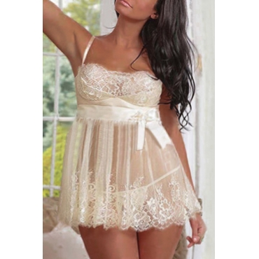 Lovely Sexy Lace Patchwork White Plus Size Babydolls