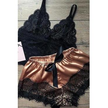 Lovely Sexy Lace Hem Coffee Sleepwear