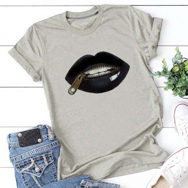 Lovely Leisure Lip Print Grey T-shirt