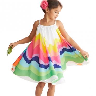Lovely Trendy Rainbow Striped White Girl Knee Length Dress