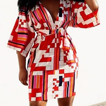 Lovely Trendy Print RedKnee Length Dress