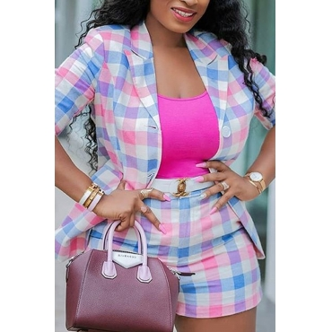 Lovely Trendy Grid Multicolor Two-piece Shorts Set