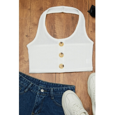 Lovely Casual Buttons Design White Camisole