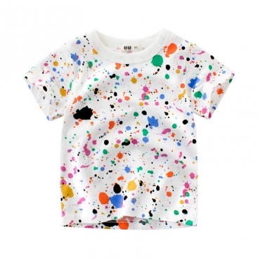 Lovely Leisure O Neck Print White Boy T-shirt