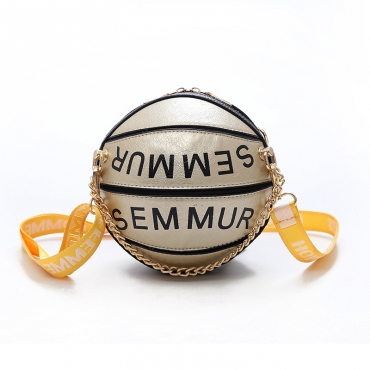 Lovely Trendy Basketball Gold Crossbody Bag