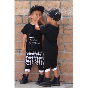 Lovely Trendy Letter Print Black Boy Two-piece Shorts Set