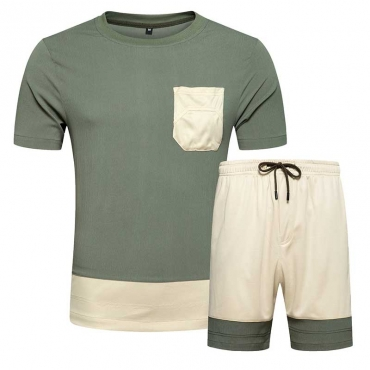 Lovely Leisure Patchwork Army GreenTwo-piece Shorts Set