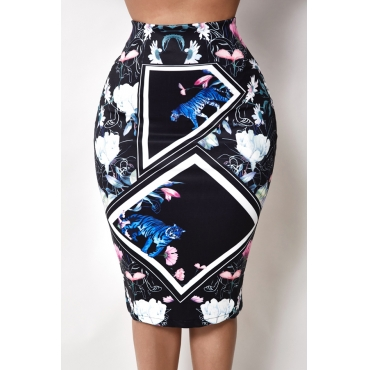 Lovely Trendy Print Black Skirt