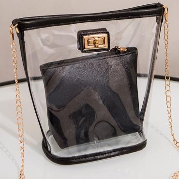 Lovely Chic See-through Black Messenger Bag