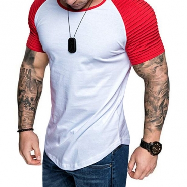 Lovely Leisure O Neck Patchwork Red T-shirt