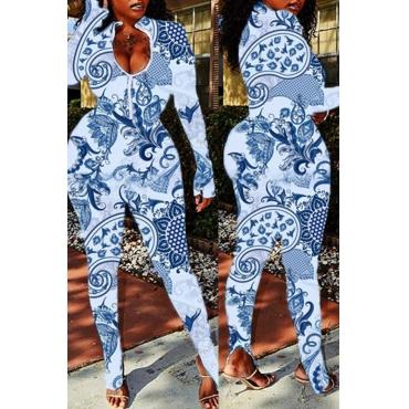 Lovely Stylish Print BlueOne-piece Jumpsuit