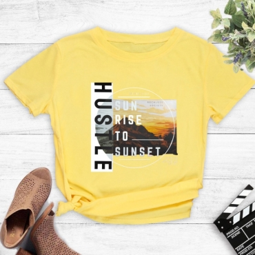 Lovely Leisure O Neck Letter Print Yellow T-shirt