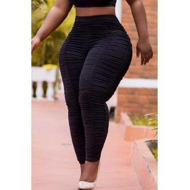 Lovely Leisure Fold Design Black Plus Size Pants