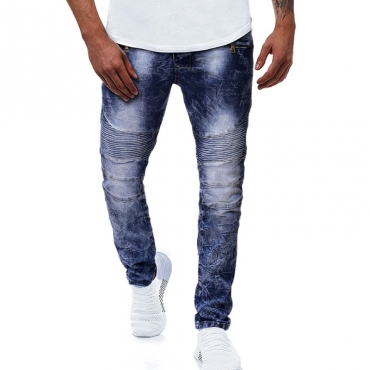 Lovely Stylish Fold Design Blue Jeans