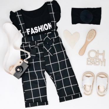 Lovely Sweet Grid Black Girl Two-piece Pants Set