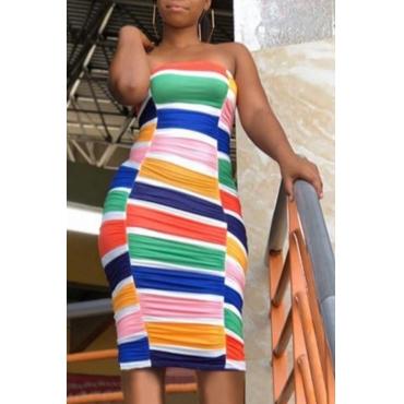 Lovely Stylish Striped Multicolor Knee Length Dress