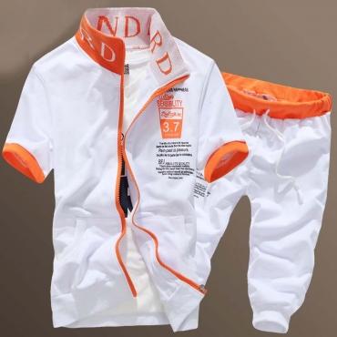 Lovely Sportswear Zipper Design White Two-piece Shorts Set